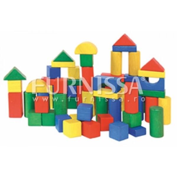 Cuburi colorate din lemn in cutie