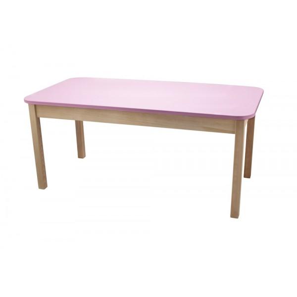 Masa gradinita lemn dreptunghiulara T2 roz