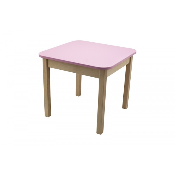 Masa gradinita lemn patrata T3 roz