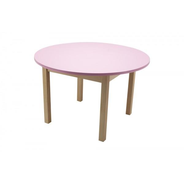 Masa gradinita lemn rotunda T3 roz