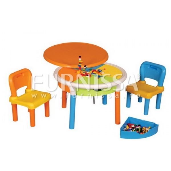 Set masa rotunda cu 2 scaune