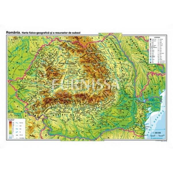 harta fizica – Romania