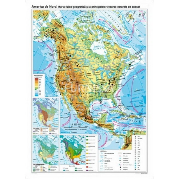 Harta fizica si a resurselor – America de nord