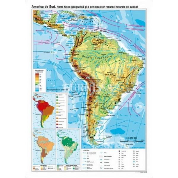 Harta fizica si a resurselor – America de sud