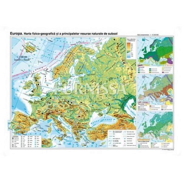 Harta fizica si a resurselor – Europa