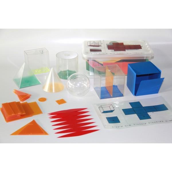Set Corpuri Geometrice cu Forme Desfasurate, Baze si Folii pentru proiector