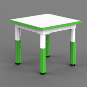 Masa Gradinita Patrata, Reglabila – Alb cu Verde