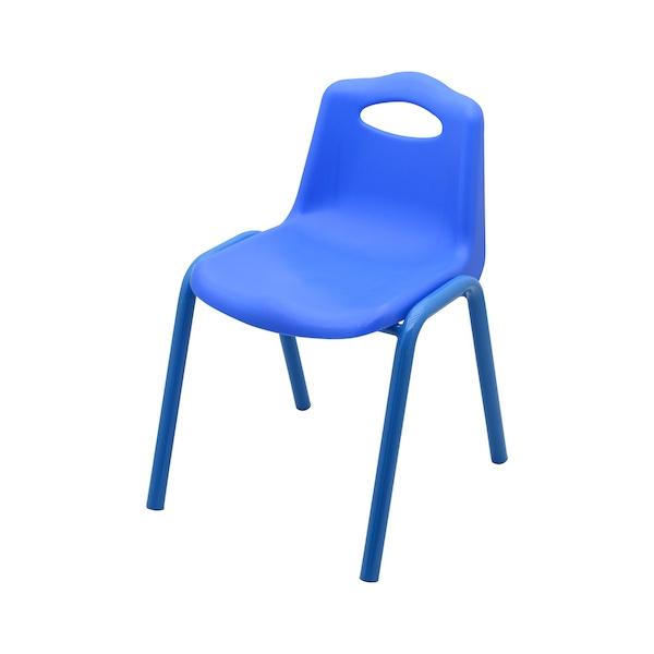 scaun scoica plastic cu cadru metalic pentru copii, albastru