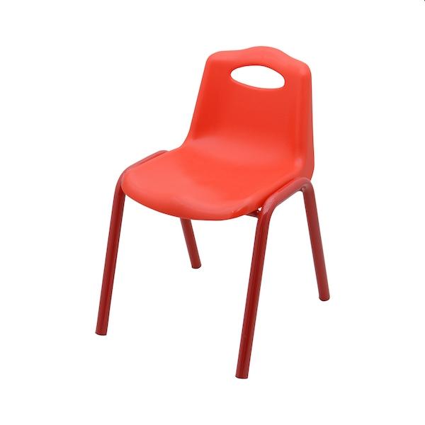 scaun din plastic cu cadru metalic, rosu